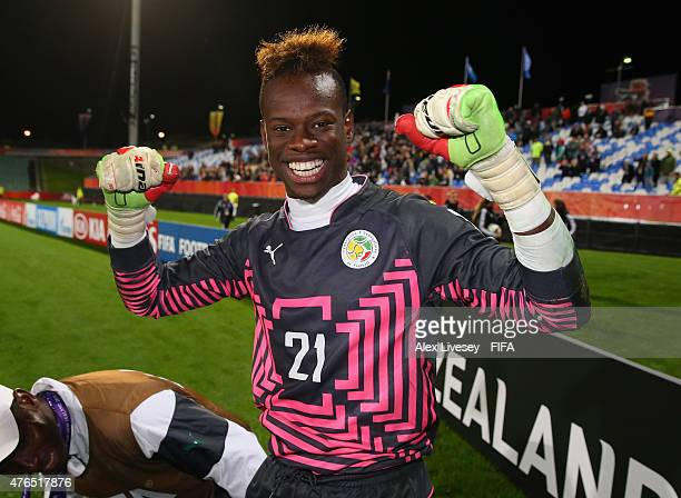 Ibrahima Sy of Senegal celebrates after saving the fourth penalty to win the penalty shoot out against Ukraine during the FIFA U20 World Cup round of...