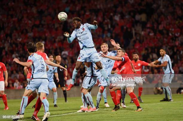 Ibrahima Toure of Gazelec during the French Ligue 2 match between Nimes and Gazelec Ajaccio at Stade des Costieres on May 4 2018 in Nimes France