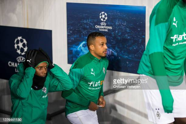 Ibrahima Traore and Alassane Plea of Borussia Moenchengladbach are seen before the Group B - UEFA Champions League match between Shakhtar Donetsk and...