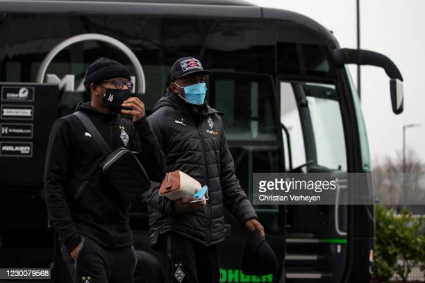Ibrahima Traore and Marcus Thuram of Borussia Moenchengladbach are seen before the Bundesliga match between Borussia Moenchengladbach and Hertha BSC...