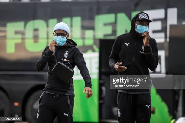 Ibrahima Traore and Marcus Thuram of Borussia Moenchengladbach are seen before the Bundesliga match between Borussia Moenchengladbach and TSG...