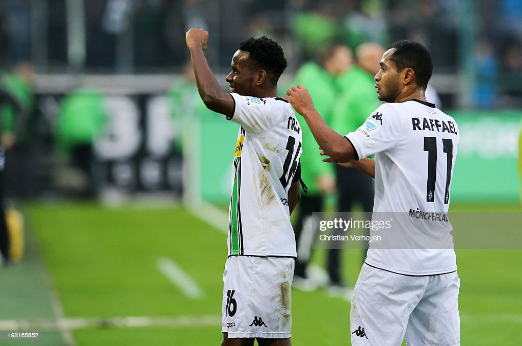 Ibrahima Traore and Raffael of Borussia Moenchengladbach celebrate after the first goal during the Bundesliga match between Borussia Moenchengladbach and Hannover 96 at Borussia-Park on November 21, 2015 in Moenchengladbach, Germany