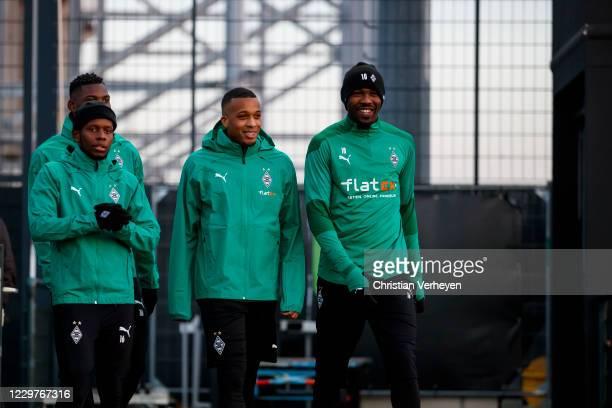 November 24: Ibrahima Traore, Breel Embolo, Alassane Plea and Marcus Thuram are seen during a Borussia Moenchengladbach Training session ahead the...