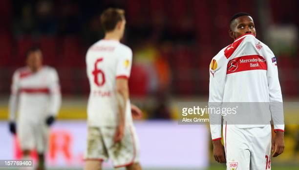 Ibrahima Traore, Georg Niedermeier and Cristian Molinaro of Stuttgart react after the UEFA Europa League group E match between VfB Stuttgart and...