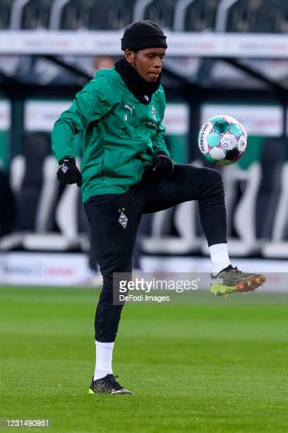 Ibrahima Traore of Borussia Moenchengladbach controls the ball during the DFB Cup quarter final match between Borussia Mönchengladbach and Borussia...