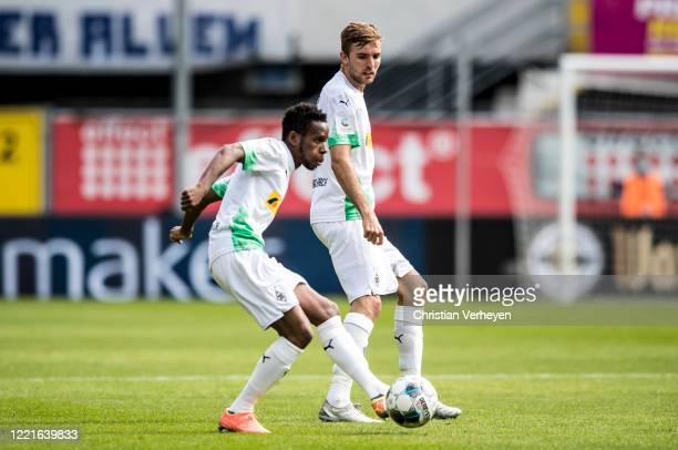 Ibrahima Traore of Borussia Moenchengladbach in action during the Bundesliga match between SC Paderborn and Borussia Moenchengladbach at...