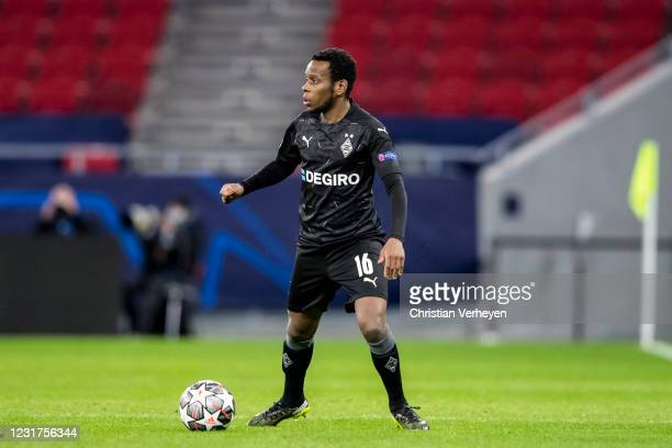 March 16: Ibrahima Traore of Borussia Moenchengladbach in action during the UEFA Champions League Round Of 16 Leg Two match between Manchester City...