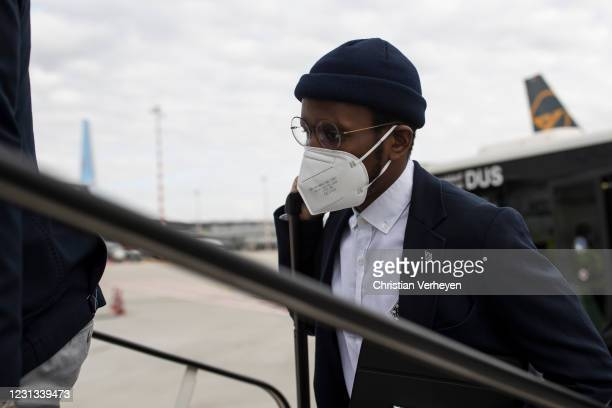 Ibrahima Traore of Borussia Moenchengladbach is seen as the team travel to Budapest for their upcoming UEFA Champions League match, at Airport...