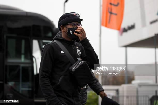 Ibrahima Traore of Borussia Moenchengladbach is seen before the Bundesliga match between Borussia Moenchengladbach and Hertha BSC at Borussia-Park on...