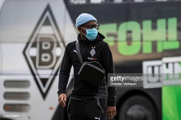 Ibrahima Traore of Borussia Moenchengladbach is seen before the Bundesliga match between Borussia Moenchengladbach and TSG Hoffenheim at...