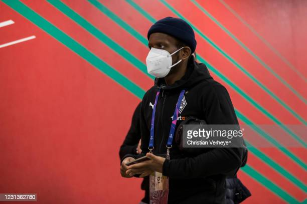 Ibrahima Traore of Borussia Moenchengladbach is seen before the UEFA Champions League Round Of 16 Leg One match between Borussia Moenchengladbach and...