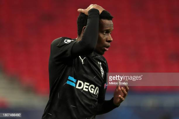 Ibrahima Traore of Borussia Moenchengladbach reacts during the UEFA Champions League Round of 16 match between Manchester City and Borussia...