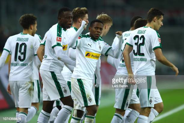 Ibrahima Traore of Borussia Monchengladbach celebrates after Thorgan Hazard scores their sides first goal during the Bundesliga match between...