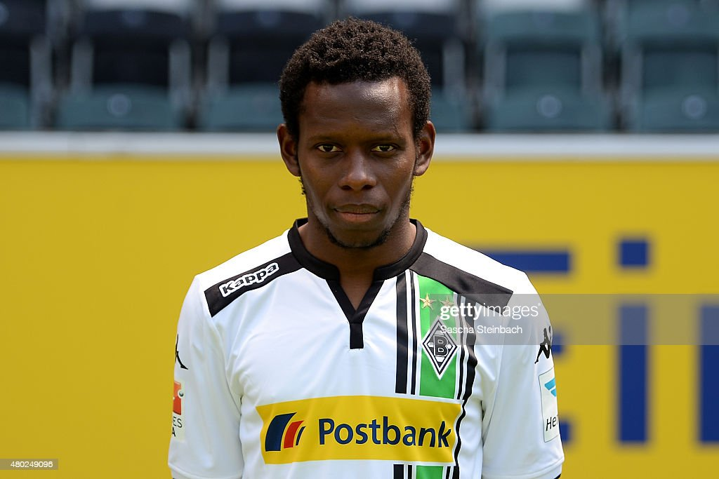 Ibrahima Traore poses during the team presentation of Borussia Moenchengladbach at Borussia-Park on July 10, 2015 in Moenchengladbach, Germany.