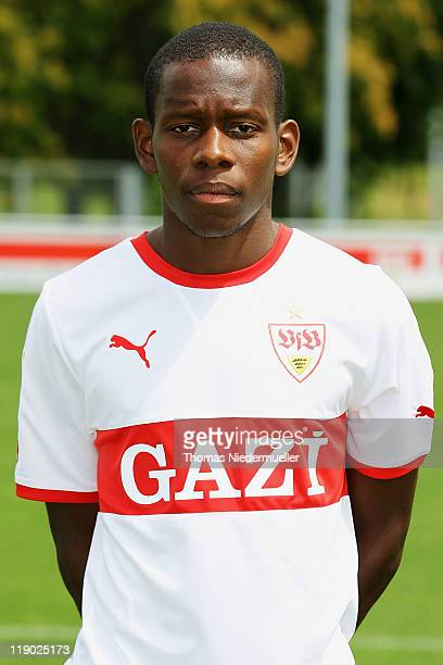 Ibrahima Traore poses during the VfB Stuttgart team presentation at Stuttgart's training ground on July 14 2011 in Stuttgart Germany