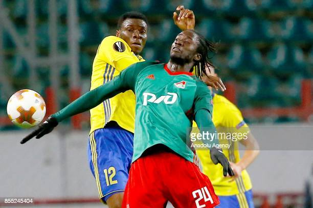 IbrahimBenjamin Traore of Zlin and Eder of Lokomotiv Moscow in action during the UEFA Europa League match between Lokomotiv Moscow and Zlin at RZD...