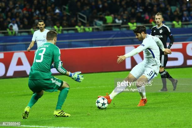 Ibrahimov Sehic of Qarabag in action against Alvaro Morata of Chelsea during the UEFA Champions League Group C soccer match between Qarabag and...