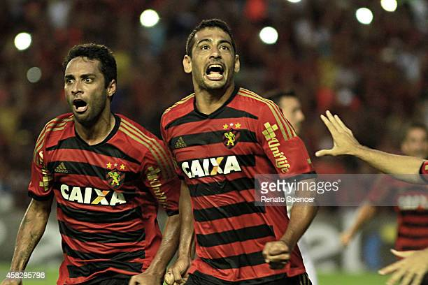 Ibson and Diego Souza of Sport Recife celebrates his goal during the Brasileirao Series A 2014 match between Sport Recife and Figueirense at Ilha do...