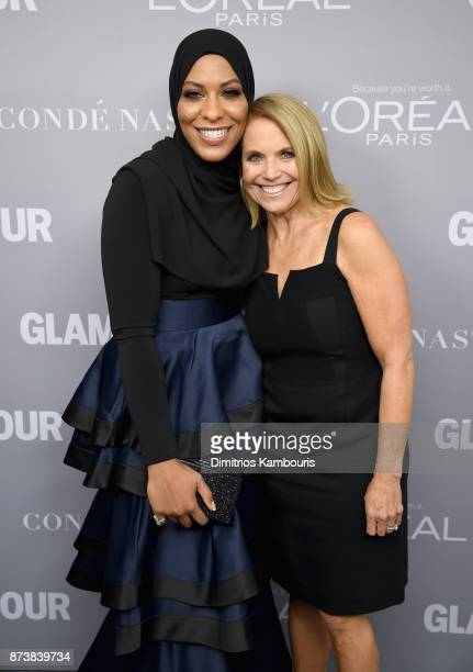 Ibtihaj Muhammad and Katie Couric pose backstage at Glamour's 2017 Women of The Year Awards at Kings Theatre on November 13 2017 in Brooklyn New York