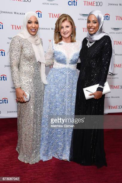 Ibtihaj Muhammad Arianna Huffington and Aya Elsekhely attend 2017 Time 100 Gala at Jazz at Frederick P Rose Hall Jazz at Lincoln Center on April 25...