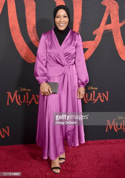 "Ibtihaj Muhammad attends the Premiere Of Disney's ""Mulan"" on March 09, 2020 in Hollywood, California."