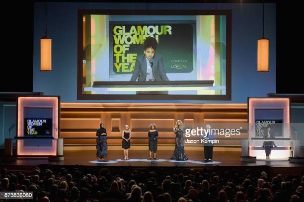 Ibtihaj Muhammad Katie Couric Ruby Bridges Laverne Cox and Sarah Weddington speak onstage at Glamour's 2017 Women of The Year Awards at Kings Theatre...