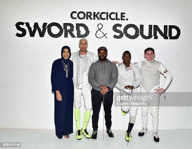 Ibtihaj Muhammad Miles ChamleyWatson Sal Masekela Daryl Homer and Renal Ganeyev attend the CORKCICLE Presents SWORD SOUND at Shop Studios on December...