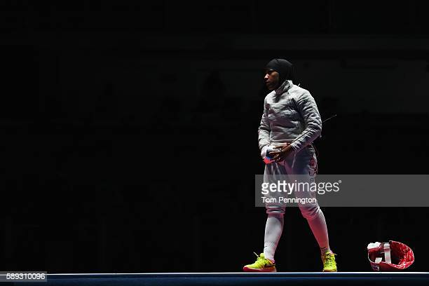 Ibtihaj Muhammad of the United States awaits to compete in the Women's Sabre Team bronze medal match between United States and Italy on Day 8 of the...