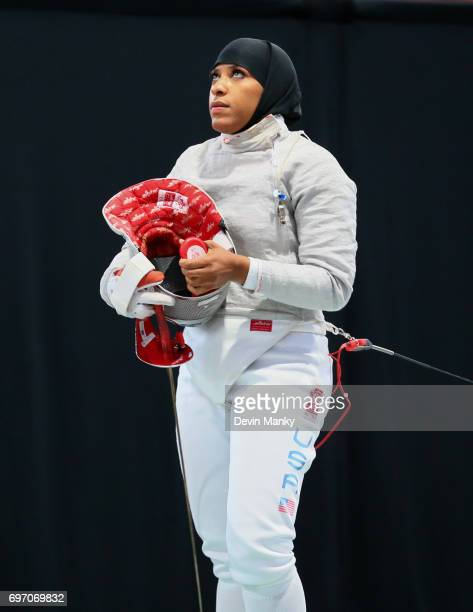 Ibtihaj Muhammad of the USA fences during the gold medal match of the Team Women's Sabre event on June 17 2017 at the PanAmerican Fencing...