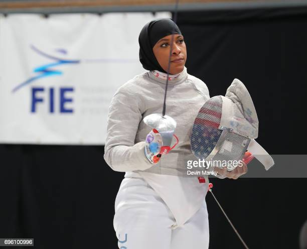 Ibtihaj Muhammad of the USA salutes an opponent during the Women's Sabre event on June 14 2017 at the PanAmerican Fencing Championships at Centre...