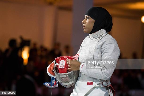 Ibtihaj Muhammad of the USA waits to fence during the Team Women's Sabre gold medal match against Mexico The USA would go on to win the match 4538 at...