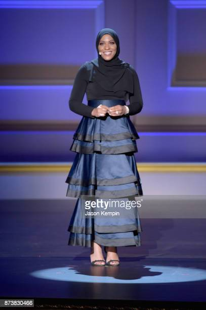 Ibtihaj Muhammad speaks onstage at Glamour's 2017 Women of The Year Awards at Kings Theatre on November 13 2017 in Brooklyn New York