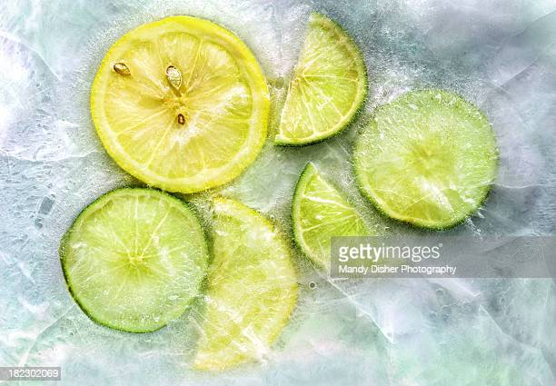 ice and a slice - frozen fruit stock pictures, royalty-free photos & images