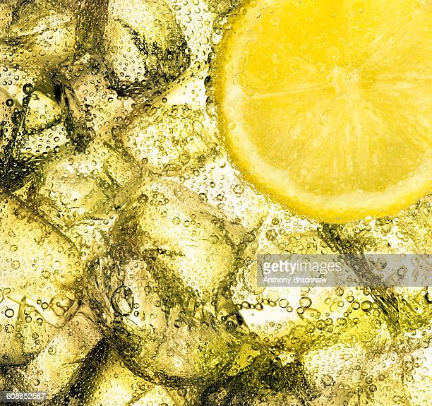 Ice and lemon in a citrus drink