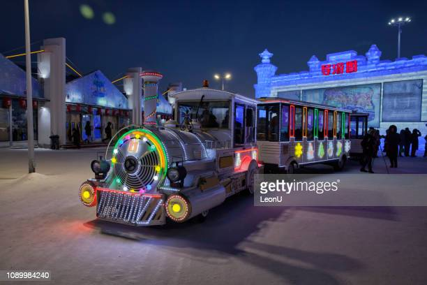 ice and snow world, harbin, china - harbin ice festival stock pictures, royalty-free photos & images