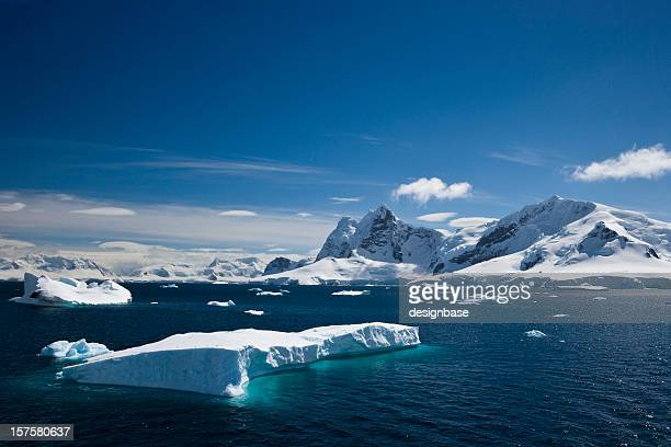 Ice and snowy mountains with water in the Paradise Harbour
