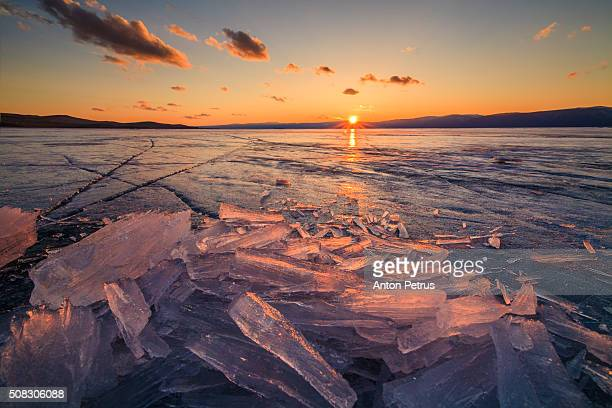 Ice at sunset. Lake Baikal