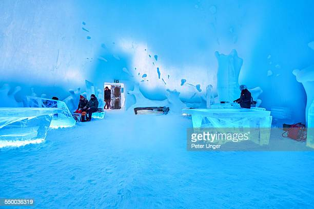 ice bar at ice hotel,jukkasjarvi - ice hotel sweden stock pictures, royalty-free photos & images
