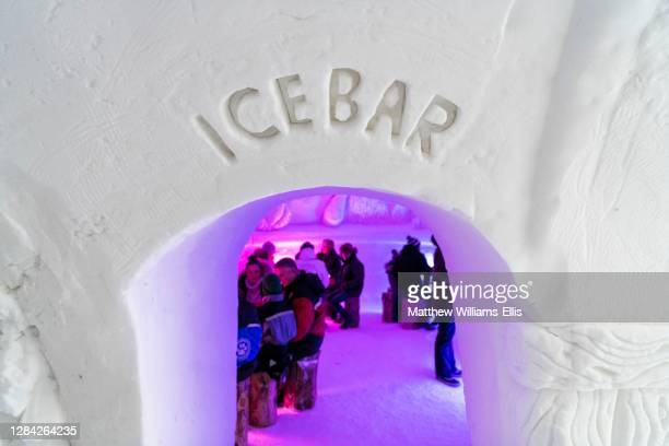 Ice bar for having a drink on vacation to Lapland at Christmas in Finland, Europe.