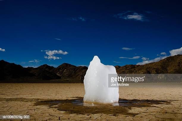 Ice block melting in desert