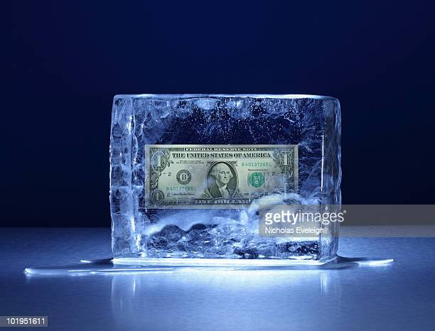 Ice block with one US dollar bill