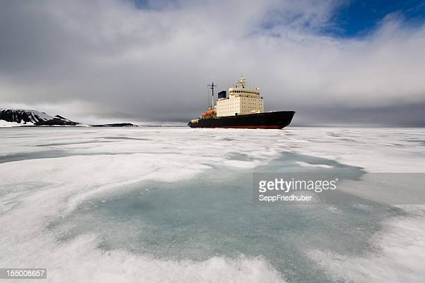 Ice breaker heading in Franz Josef Land