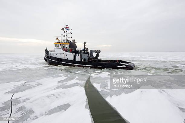 Ice Breakers in dutch waters cracking ice