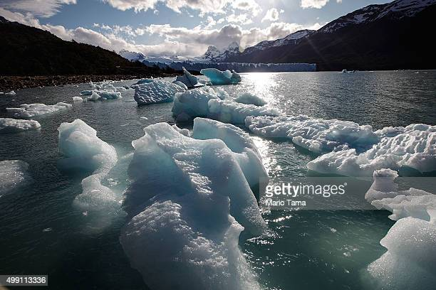 Ice broken off from Perito Moreno glacier floats in Los Glaciares National Park part of the Southern Patagonian Ice Field the third largest ice field...