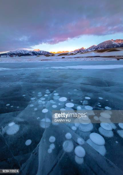 ice bubbles in sayram lake in xinjiang province ,China