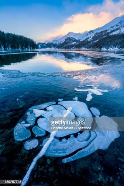 ice bubbles on frozen lake sils, switzerland - kanton graubünden stock-fotos und bilder