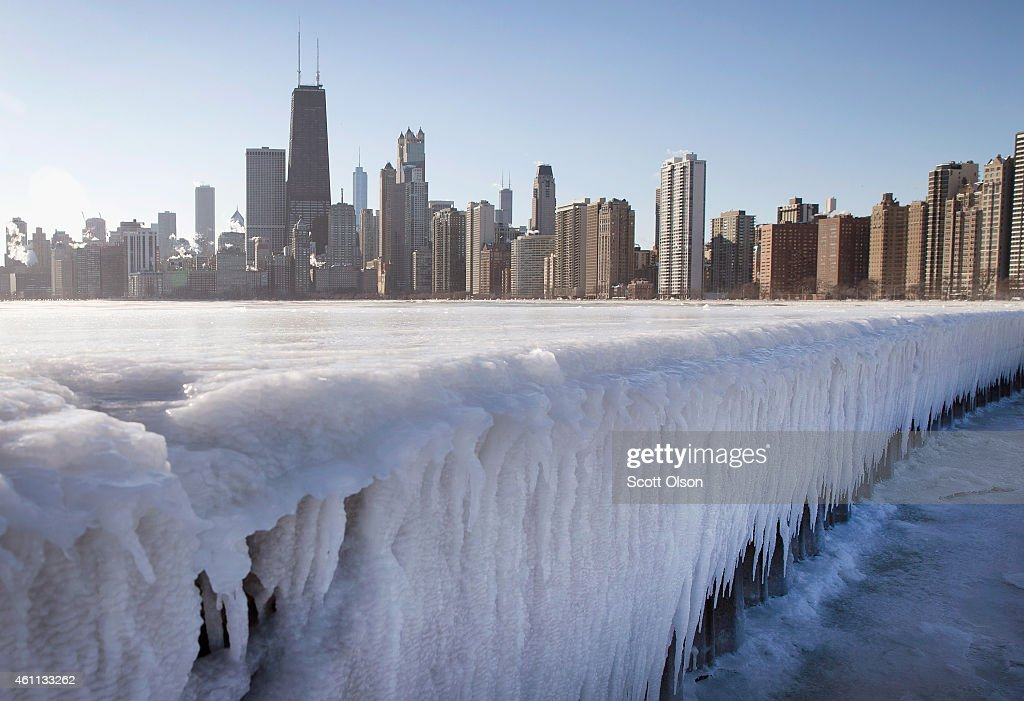 Ice builds up along North Avenue Pier while temperatures hovered around zero degrees Fahrenheit on January 7, 2015 in Chicago, Illinois. Most of the city's schools were cancelled today as wind chill temperatures were expected to exceed -30.