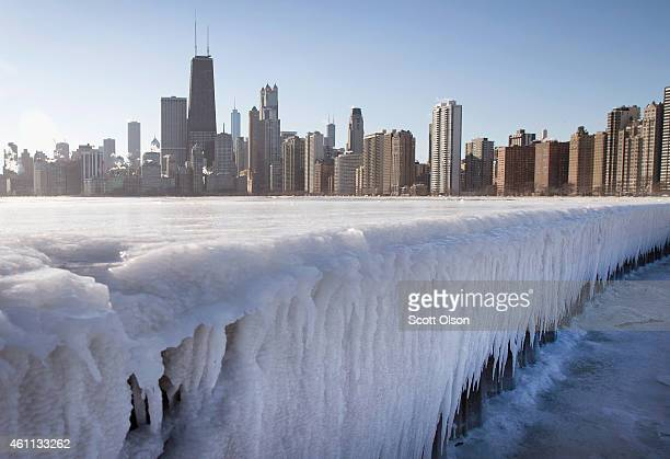 Ice builds up along North Avenue Pier while temperatures hovered around zero degrees Fahrenheit on January 7 2015 in Chicago Illinois Most of the...