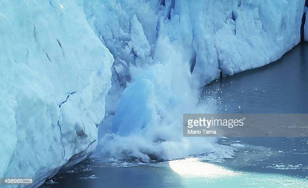 Ice calves at the Perito Moreno glacier in Los Glaciares National Park part of the Southern Patagonian Ice Field the third largest ice field in the...