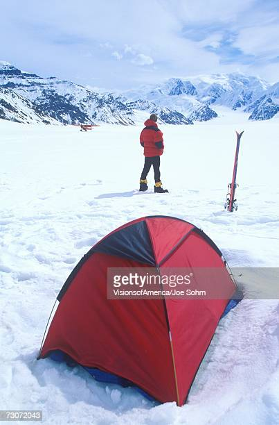 """""""Ice camping on glacier in St. Elias National Park and Preserve, Wrangell Mountains, Wrangell, Alaska """""""